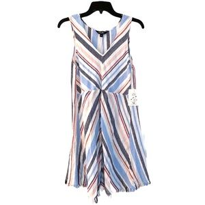 NWT INDIGO REIN Linen Blend Stripe Dress Fringe